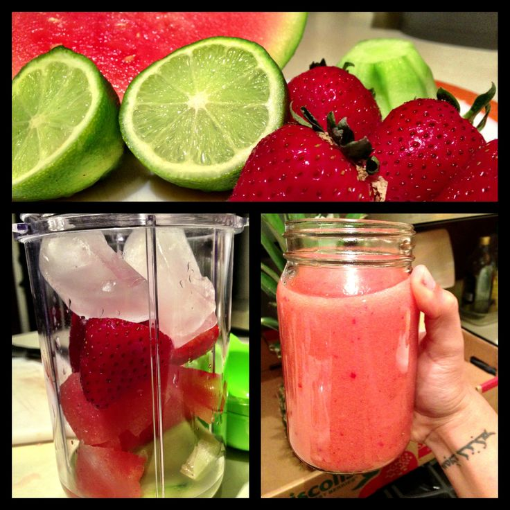 In the Magic Bullet : Watermelon + 2 Limes + 5 Strawberries + 1/4 Cucumber + 2 Ice Cubes. So good.