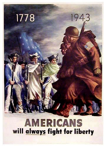 World War 2 Poster.  Americans: Always fighting for liberty! I found this poster almost a decade ago in an antique shop in DC and purchased for my older brother who is an Army officer.