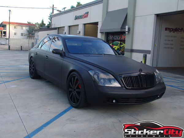 Mercedes Maybach Wrapped In Matte Black.   Http://www.stickercity.