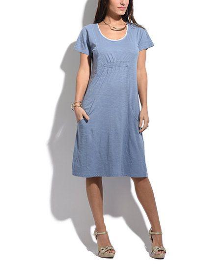 Goubi Blue Empire-Waist Dress   zulily