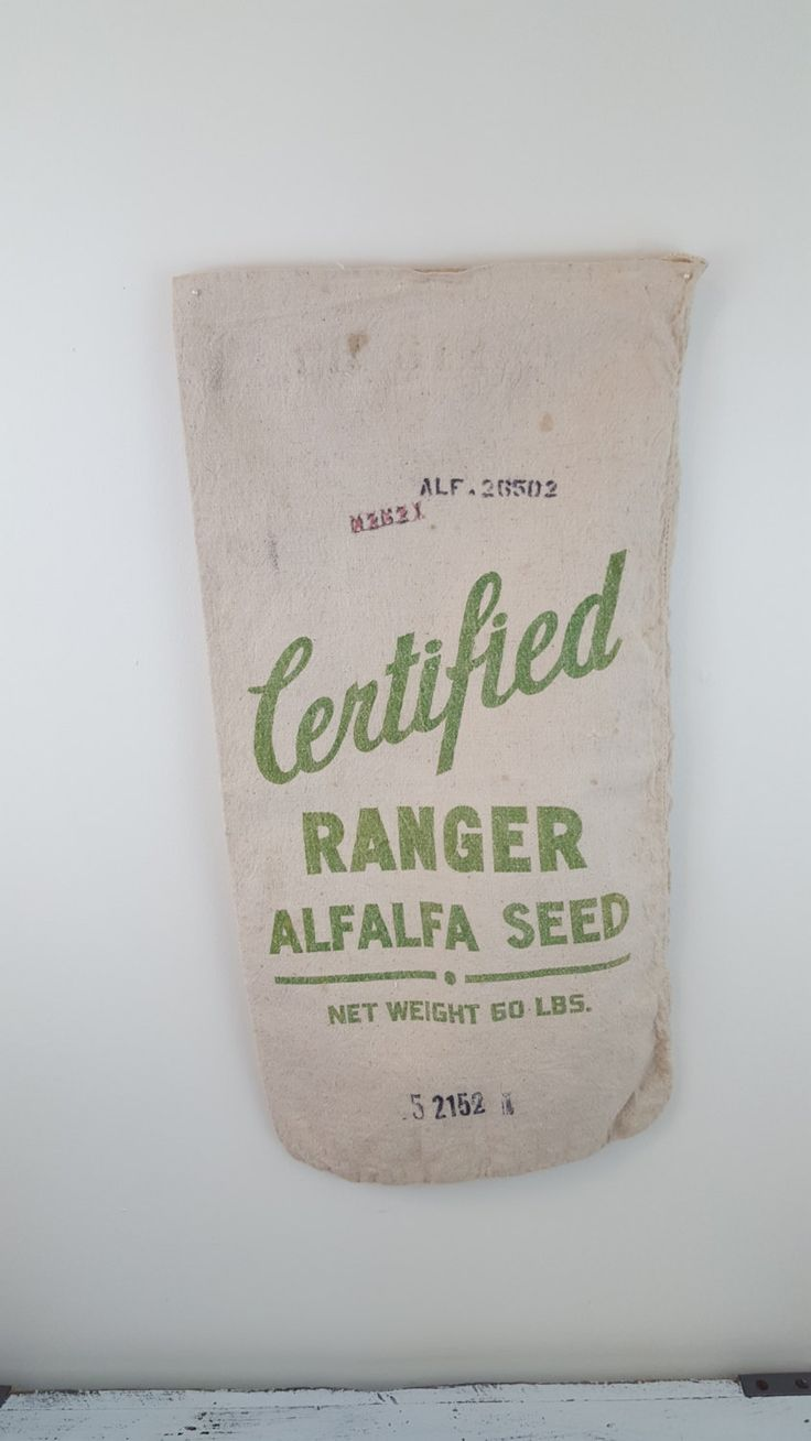 Vintage Feed Sack, DIY, ranger alfalfa seed, stamp, tote bag, market tote by KelfDesign on Etsy