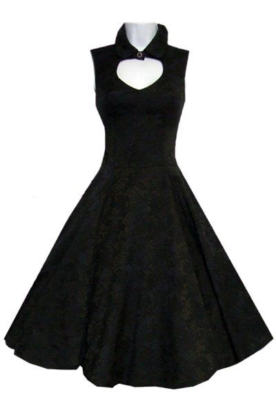 This beautiful knee-length dress is made completely out of soft black brocade. The bodice is very detailed with a round collar which can be closed up with a button at the neck.