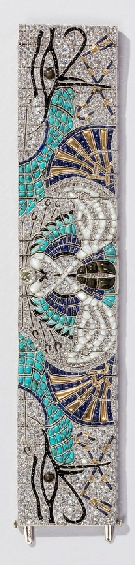 Lacloche Frères - An Art Deco Egyptian Revival gold, platinum, diamond and gem-set bracelet, circa 1925. Contains diamonds, turquoises, sapphires, mother-of-pearl, onyxes, black pearls, smoky quartz and tourmalines. #Lacloche #ArtDeco