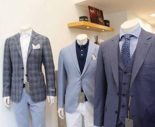 Canali 2-button checked jacket.    Boglioli lightweight blazer.    Canali super 130 suit with waistcoast.    #canali #boglioli #suits #jackets