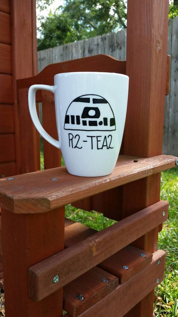 R2-Tea2 Tea Mug Star Wars Inspired Tea Mug by JustABrushAndPaint