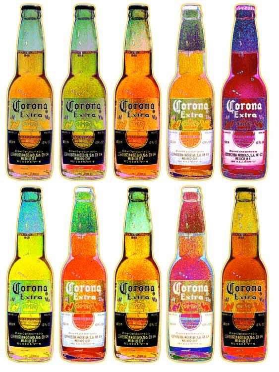 12 BOTTLES of CORONA BEER -   Fine Pop-Art Giclee Print on Archival Etching - Free Gift Wrap