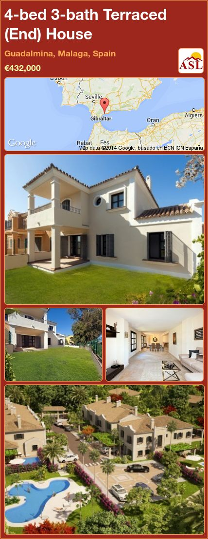 4-bed 3-bath Terraced (End) House in Guadalmina, Malaga, Spain ►€432,000 #PropertyForSaleInSpain