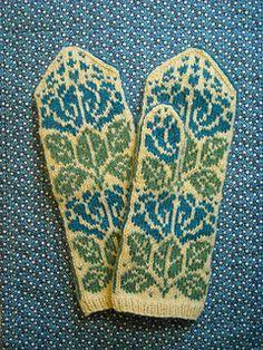 Blue Bells Mittens - free knitting pattern via ravelry