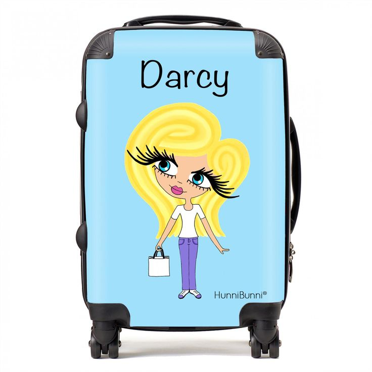 HunniBunni Little Miss Light Blue Personalised Suitcase