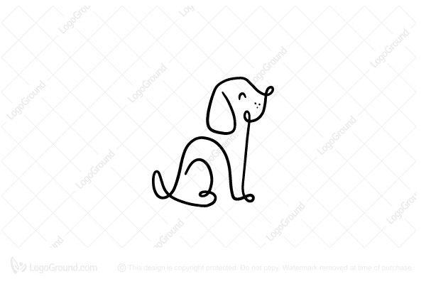 Dog One Line Logo Dog Line Drawing Animal Line Drawings Dog Line Art