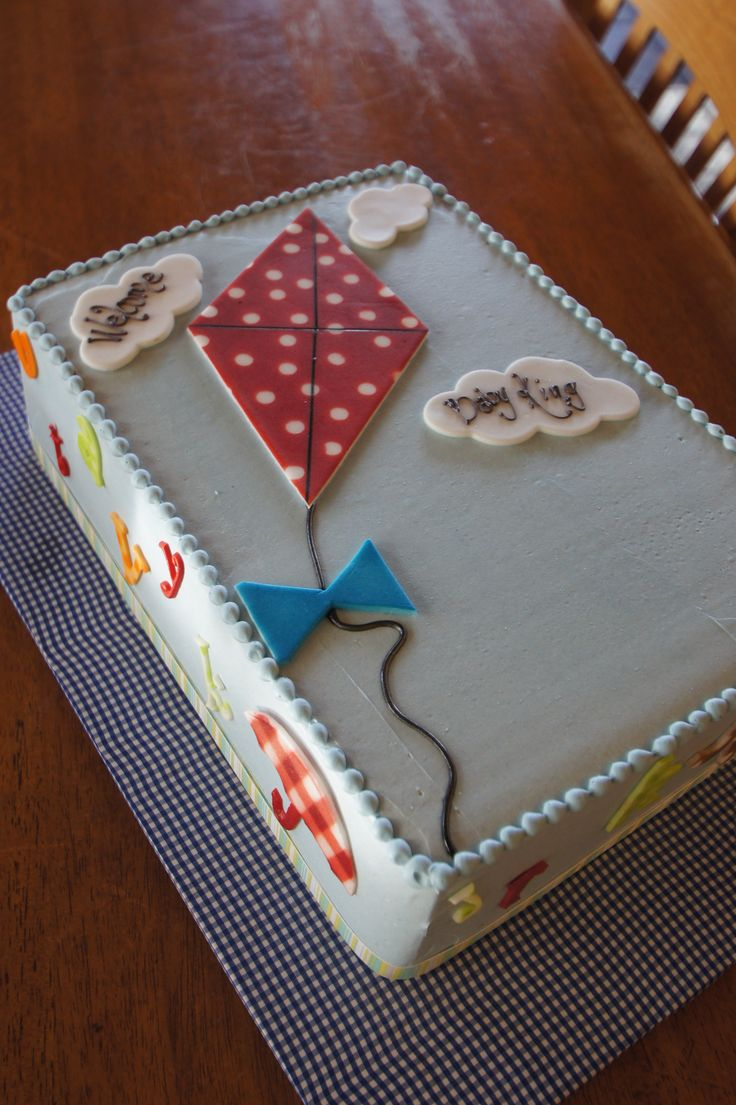 Baby Blue Baby Shower Sheet Cake With Red Fondant Kite