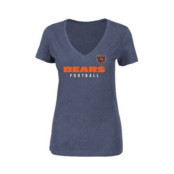 T-Shirt Chicago Bears Team Color, Women's, Multicolored ($20) ❤ liked on Polyvore featuring tops, t-shirts, multicolored, nfl logo t shirt, logo t shirts, v neck t shirts, pattern t shirt and v neck tee