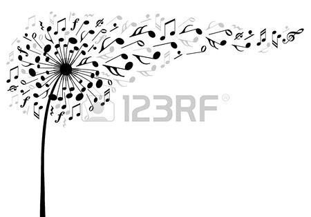 musique fleur de pissenlit avec le vol des notes de musique, illustration vectorielle