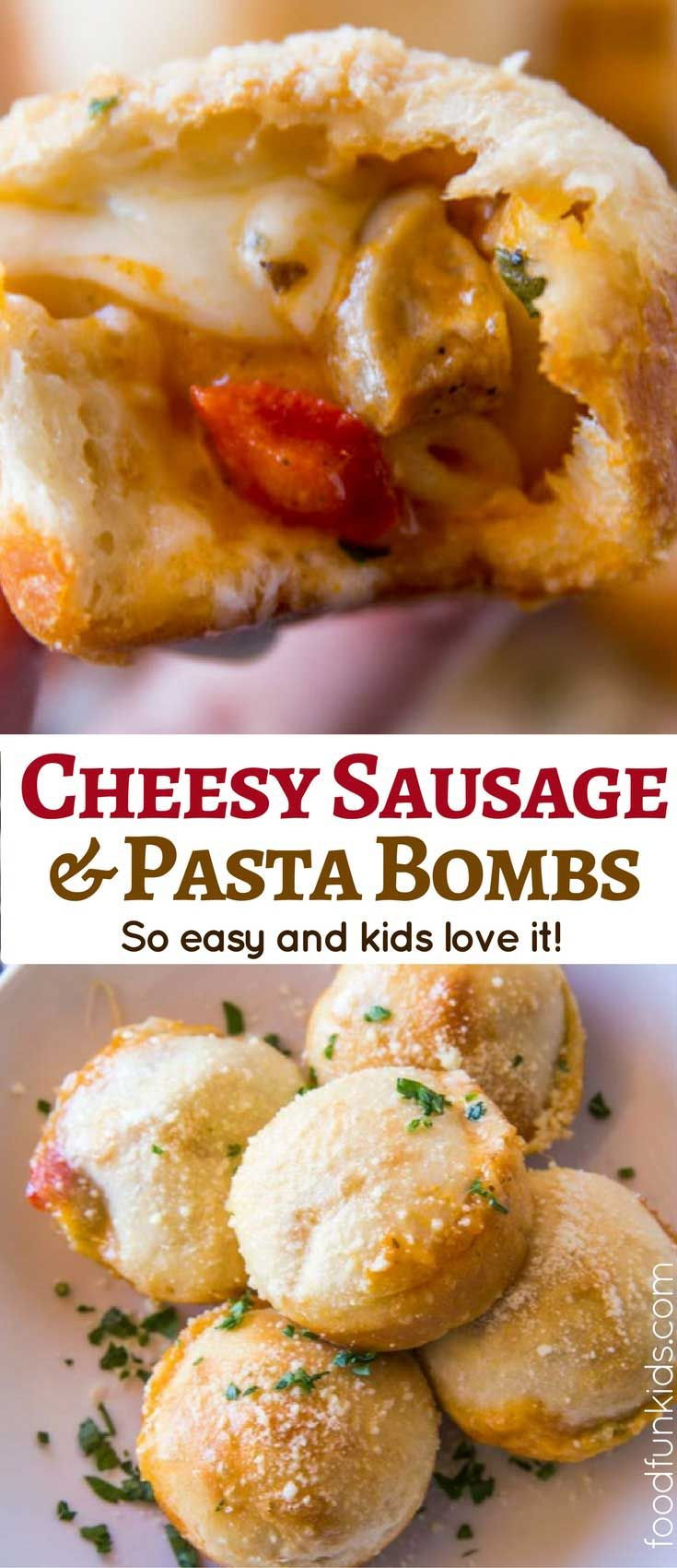 Cheesy Sausage Pasta Bombs are made with a quick and easy sausage pasta mixture and frozen bread dough or pizza dough makes a perfect after-school snack.