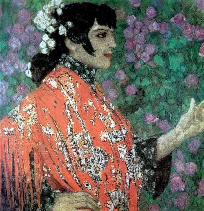 Aleksandr Golovin (Russian, 1863-1930) - Spanish Woman with Red Shawl / Александр Головин - Испанка в красной шали