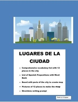 """This wonderful interactive package will allow your students to do an cross curricular Spanish activity.  Students will be exposed to """"Places around the community"""" vocabulary and prepositions. Have the opportunity to create their own city map. They will be provided with squares to cut pictures and using construction paper they should be able to create a map lableing avenues and use it for directions."""