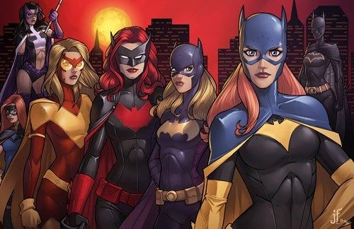 Meet the Bat Women, from L-R: Charlie Radcliffe (Misfit, Batgirl), Helena Bertinelli (Huntress, Batgirl), Bette Kane (Flamebird, Batgirl), Kate Kane (Bat Woman), Stephanie Brown (Batgirl, Robin, Spoiler), Barbara Gordon (Batgirl, Oracle), Cassandra Cain (Black Bat, Batgirl).