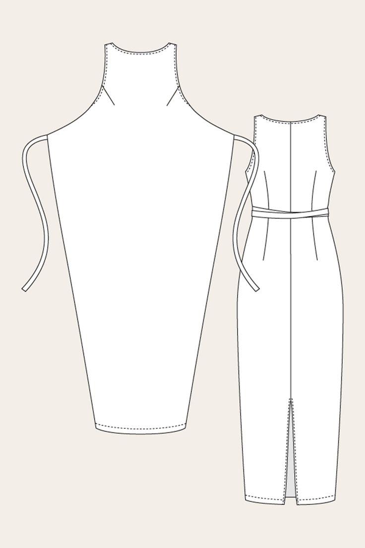 Named Clothing 07-035 Kielo Wrap Dress Downloadable Pattern Line Drawing