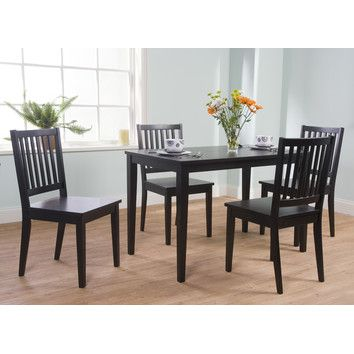Shaker 5 Piece Dining Set Black 189 Contemporary Table Sturdy Rubber Wood Construction With Finish Dimensions For Chairs X