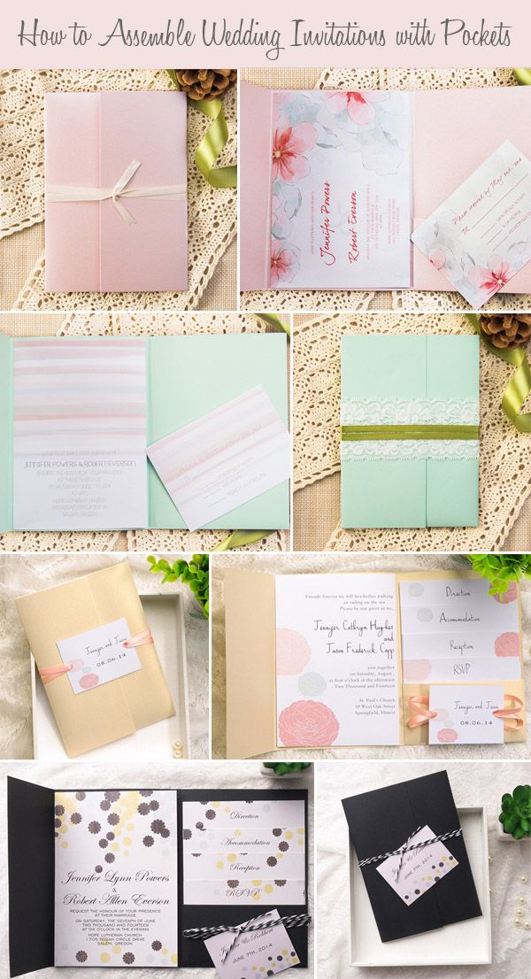 how to assemble your wedding invitations with pockets wedding blog and wedding ideas. Black Bedroom Furniture Sets. Home Design Ideas
