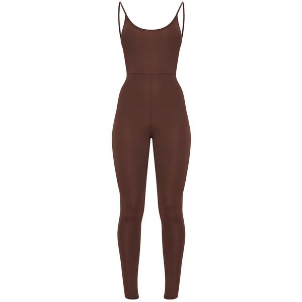 Chocolate Brown Scoop Neck Backless Jumpsuit ($25) ❤ liked on Polyvore featuring jumpsuits, brown jumpsuit, backless jumpsuit and jump suit
