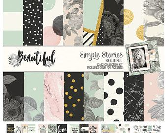 Beautiful Collection, 12x12 Collection Kit, Patterned paper, Simple Stories, Combo Cardstock stickers, Gold Foil accents, Paper for albums
