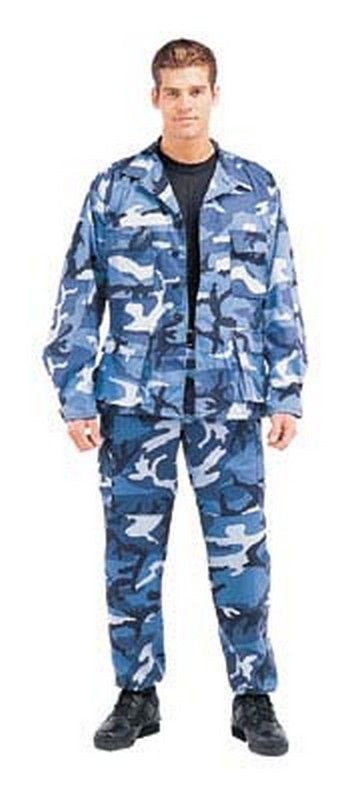 Military fatigues (bdu's) sky blue camo pants $28.98 Reinforced seats and knees, adjustable waist tabs, drawstring bottoms, poly/cotton. #Military  http://www.armynavyshop.com/prods/rc7882.html