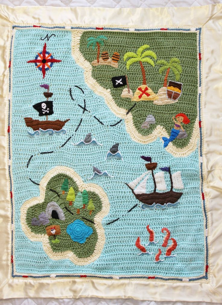 Crochet Baby Blanket Pirate Treasure Map Crochet Baby Blanket Check more at https://www.newbornbabystuff.com/crochet-baby-blanket-pirate-treasure-map-crochet-baby-blanket/