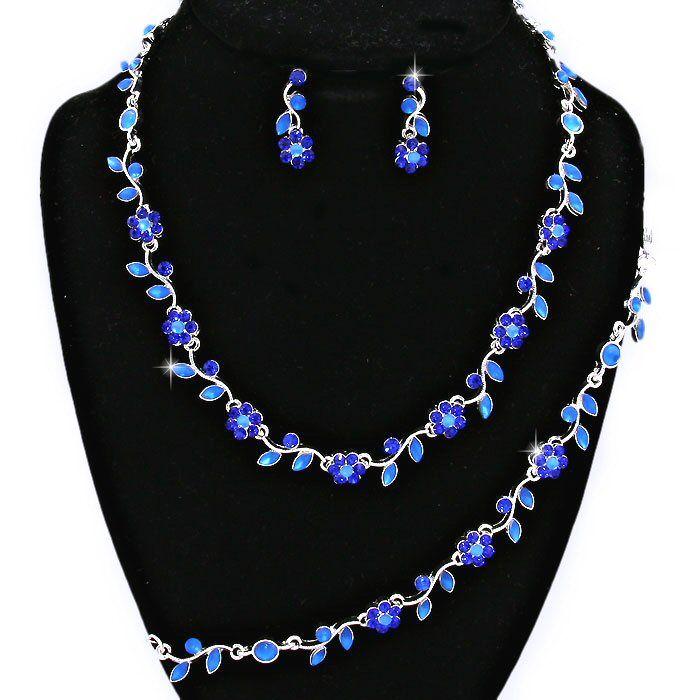 royal cobalt blue crystal rhinestone formal wedding bridal prom party pageant bridesmaid evening flower floral leaf