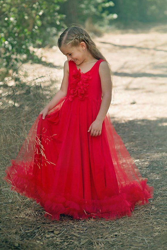 41fed8ff6140 Girls Red Christmas Tulle Dress, Baby Girl Long Gown, Holiday, Party  Tutu,Bohemian Wedding, party Gi