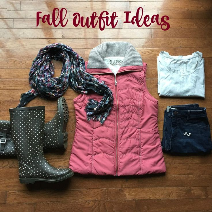 Outfit ideas for fall, pink puffer vest outfit, polka dot rain boots outfit, chooka, fall outfits,