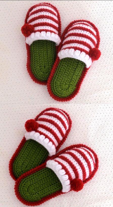 Crochet Christmas Slippers  #bordado #crochet #Crochetpatterns #Knitting