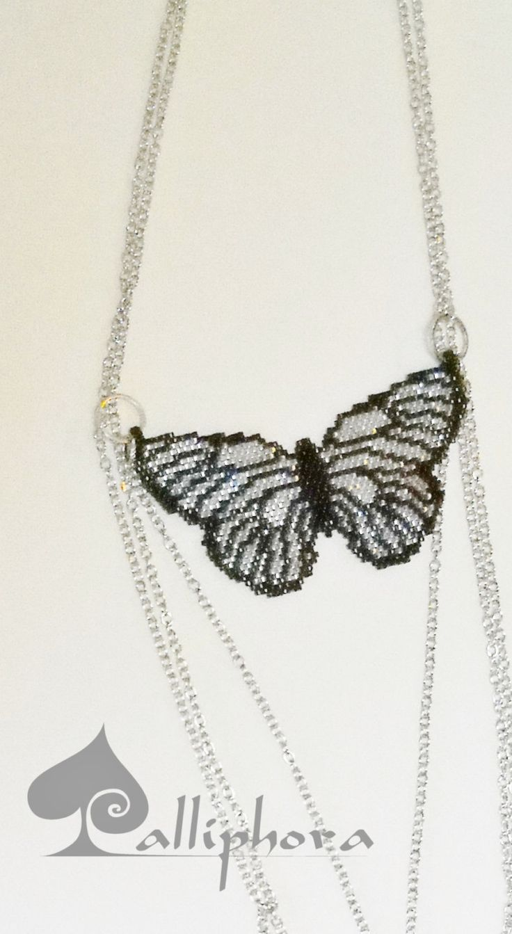 Beaded butterfly necklace by Calliphorabeads on Etsy