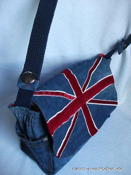 Recycling Jeanstasche Britische Flagge Unikat