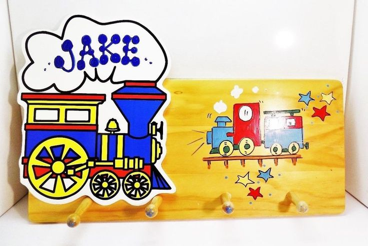 Childrens Coat Hanger Wall Mount Little Train design by Baby Merry Go Round Co. #BabyMerryGoRound