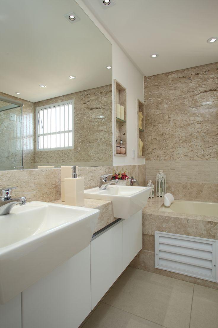 Mármore Bege Bahia  arquiteta Mariela Romano  Banheiro  Pinterest  Bahia -> Banheiros Modernos Com Hidro