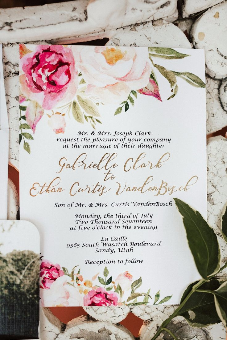 16 best Watercolor Flower Wedding Invitations images on Pinterest ...