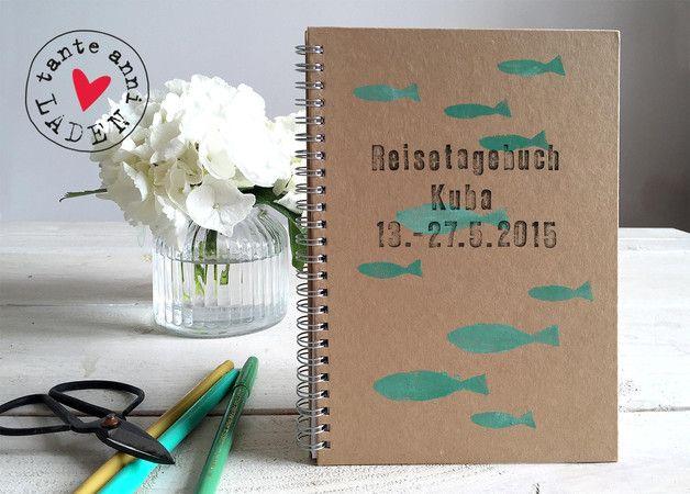 """Einsteckalben - reisealbum """"fische"""", mit wunschtext DIN A5 - ein Designerstück von annis-stempelei bei DaWanda"""