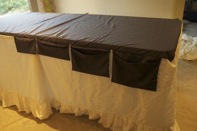 Tutorial on making trade show tablecloth with pockets on the back for all those things you need to keep up with