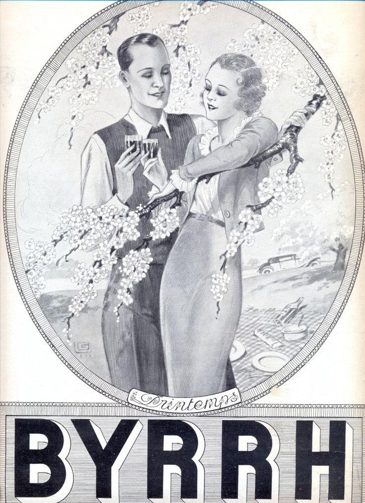 BYRRH aperitif vintage advertising poster, Lanvin Perfumes ad on the reverse page, illustration print, original art deco advertisement 1933 by OldMag on Etsy