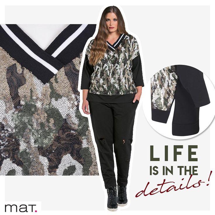 Θέλεις αυτή η εβδομάδα να είναι ξεχωριστή; Άρχισε από τη Δευτέρα! Λάμψη και το απόλυτο militaire στυλ μαζί... Μπλούζα με παγιέτες ➲ code: 681.1282  Παντελόνι jogger με σκισίματα ➲ code: 685.2064 #matfashion #fw1718 #realsize #fashion #psootd #plussizefashion #lovematfashion #sequins #fashion #inspiration