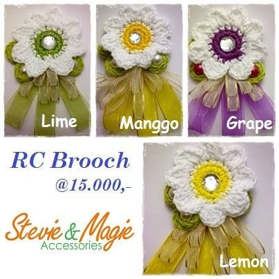 Ribbon and Crochet Brooch. We have 10 different colours. Chat us at Black Berry PIN 7D1A19E4