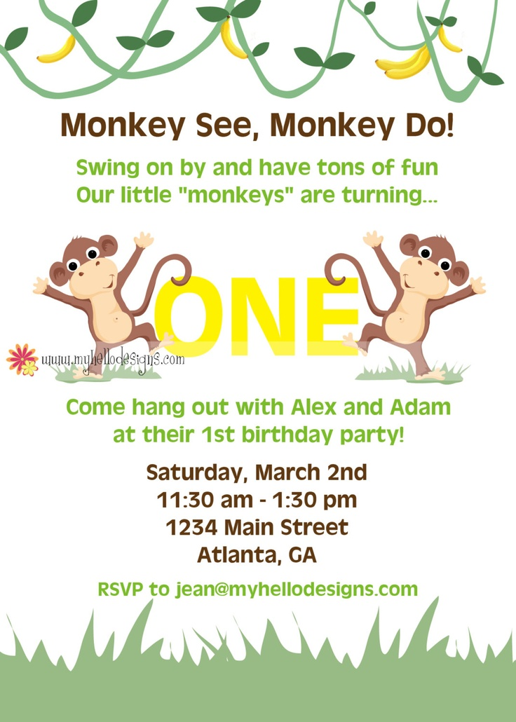 28 best Monkey invitations images on Pinterest | Monkey invitations ...