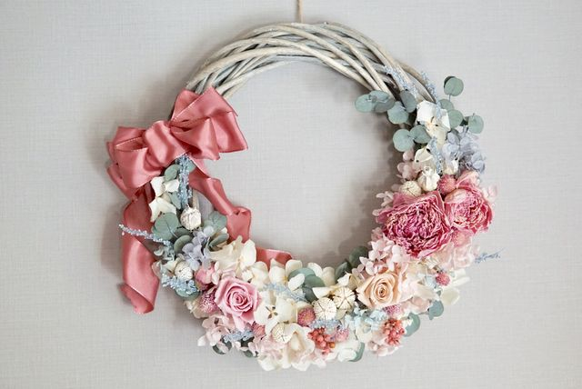 'Crescendo' wreath :スモーキーカラーのリースブーケ | ハンドメイドマーケット minne