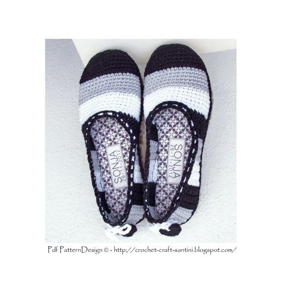 Black & White ESPADRILLES/TOMS. Basic slipper crochet-pattern. Applied my Cord-Soles with treatment for street-wear. By PdfPatternDesign, €5.00