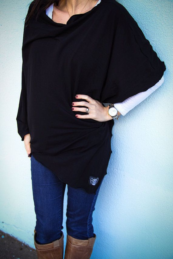 Classic black Nursing Cover/ Nursing Poncho Scarf with Matching Carrying Bag on Etsy, $38.00