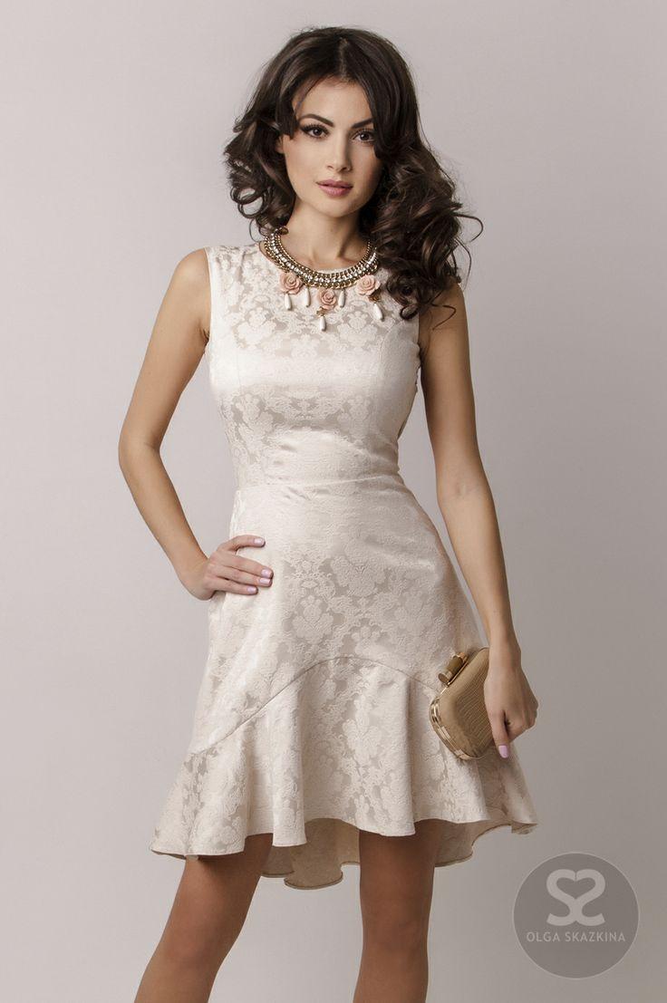 Cream jacquard dress