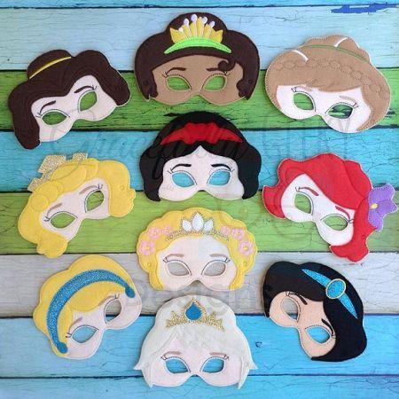Princess Felt Mask Embroidery Design - Complete set - 5x7 Hoop or Larger