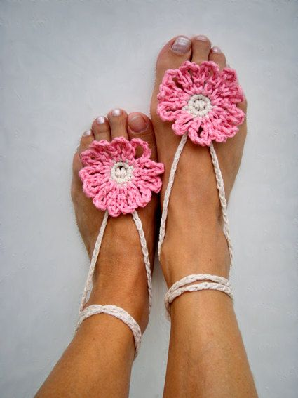 ¡Ohhh!Crochet Sandals, Jewelry Barefoot, Barefoot Sandals, Anklets Jewelry, Barefoot Crochet, Barefoot Anklets, Beach Wedding, Chic Pink, Barefoot Pattern Crochet