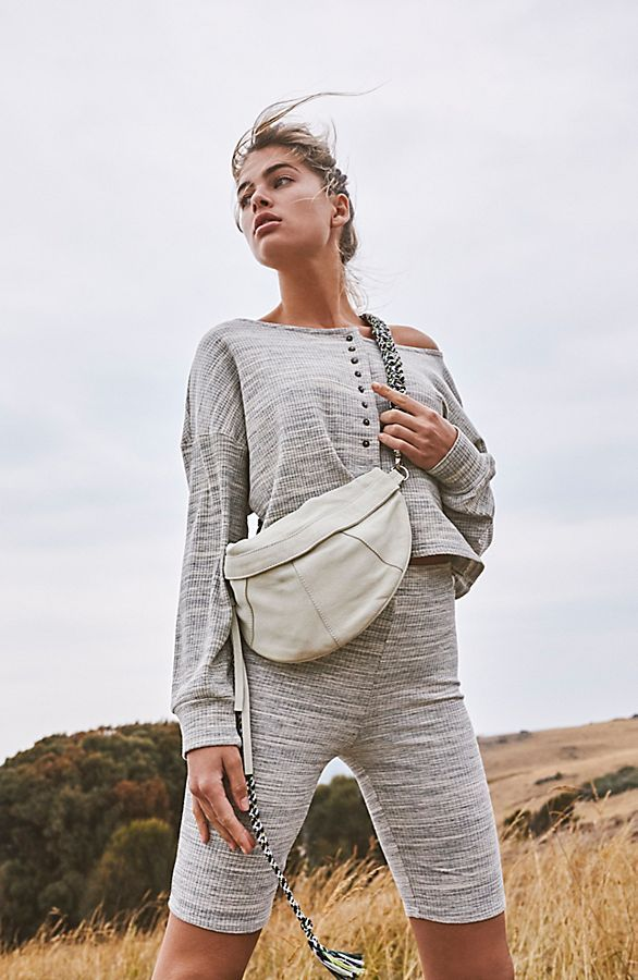 8f908aef8e Side Streets Sling Bag - White Leather Crossbody Bag - White Leather Belt  Bag - White Leather Fanny Pack - Macrame Strap Bags - Macrame Purses